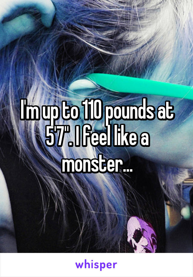 """I'm up to 110 pounds at 5'7"""". I feel like a monster..."""