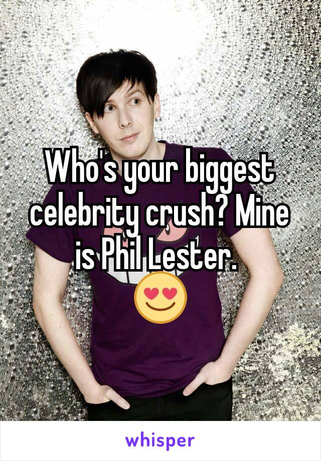 Who's your biggest celebrity crush? Mine is Phil Lester.  😍