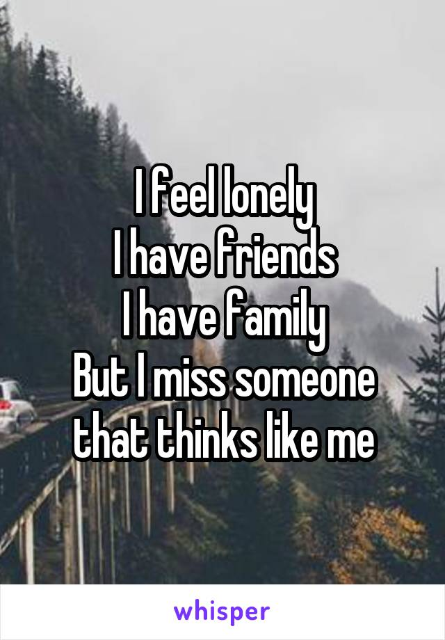 I feel lonely I have friends I have family But I miss someone that thinks like me