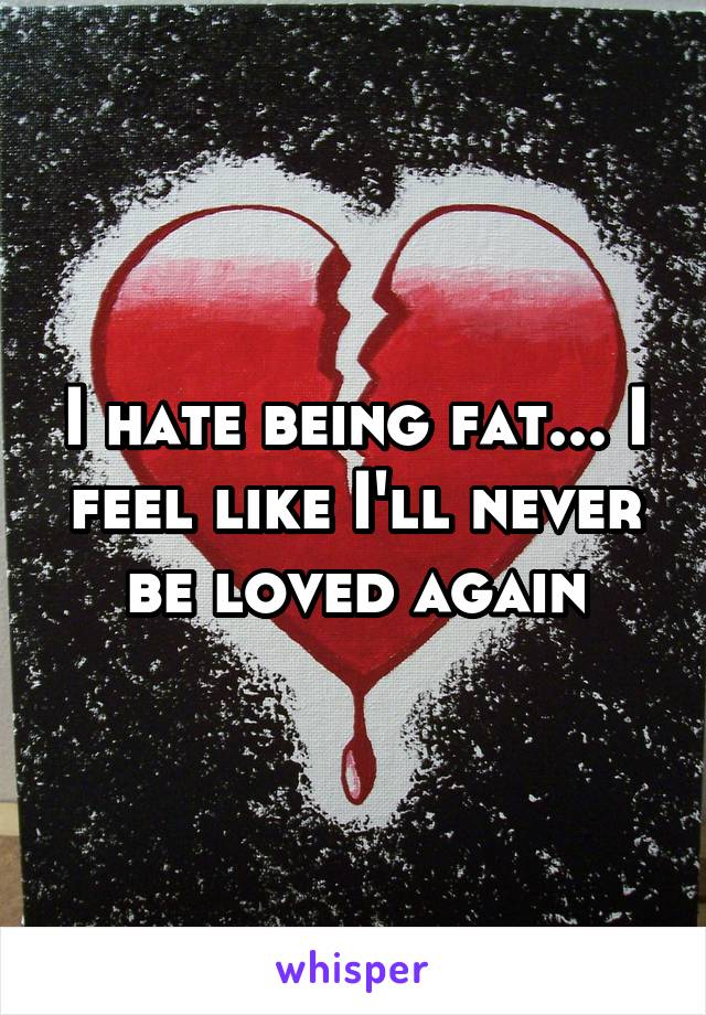 I hate being fat... I feel like I'll never be loved again