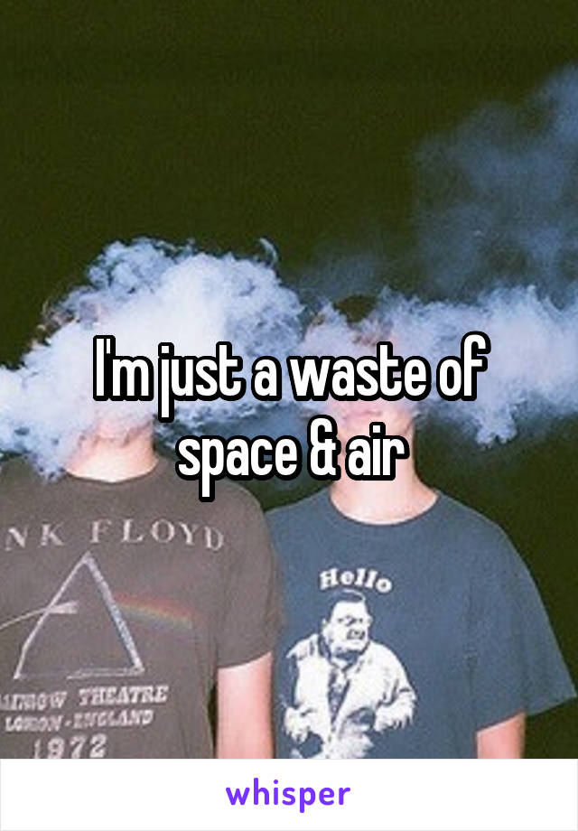 I'm just a waste of space & air