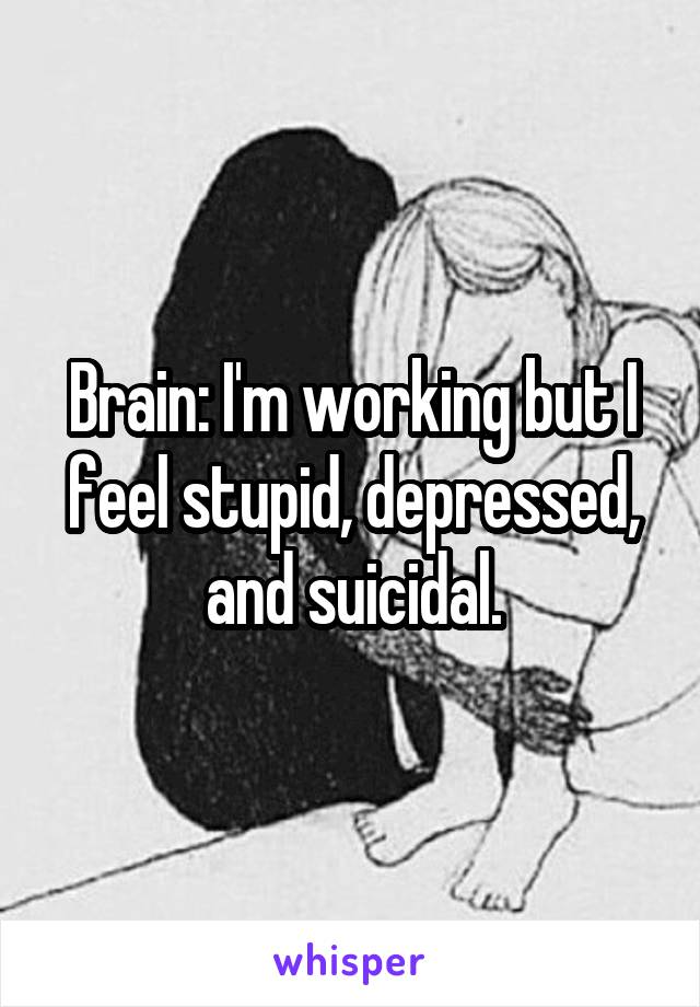 Brain: I'm working but I feel stupid, depressed, and suicidal.