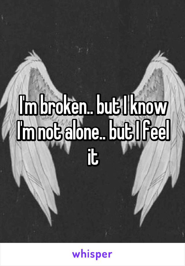 I'm broken.. but I know I'm not alone.. but I feel it