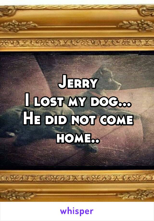 Jerry I lost my dog... He did not come home..