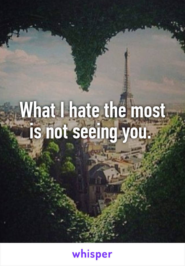 What I hate the most is not seeing you.