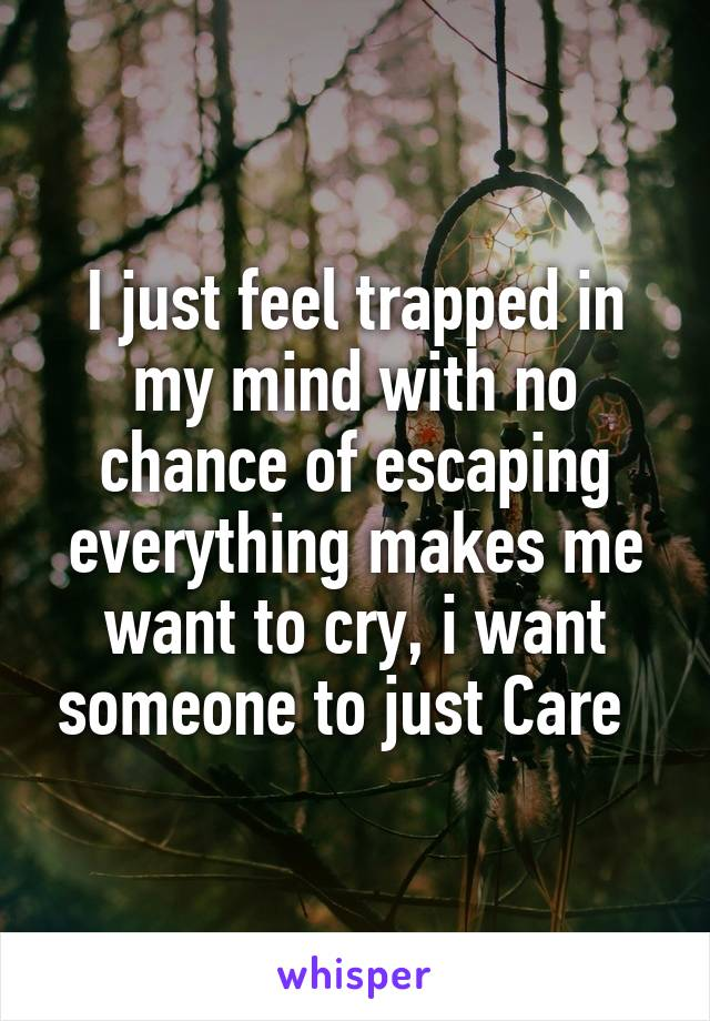 I just feel trapped in my mind with no chance of escaping everything makes me want to cry, i want someone to just Care