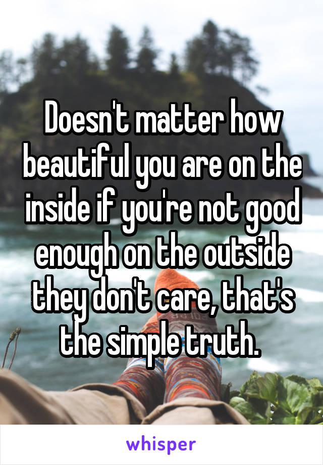 Doesn't matter how beautiful you are on the inside if you're not good enough on the outside they don't care, that's the simple truth.