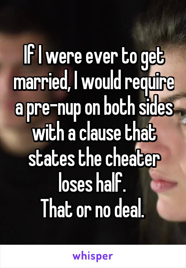 If I were ever to get married, I would require a pre-nup on both sides with a clause that states the cheater loses half.  That or no deal.