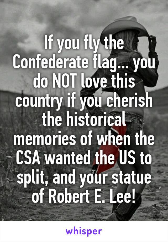 If you fly the Confederate flag... you do NOT love this country if you cherish the historical memories of when the CSA wanted the US to split, and your statue of Robert E. Lee!
