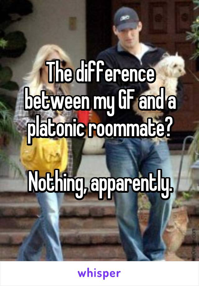 The difference between my GF and a platonic roommate?  Nothing, apparently.