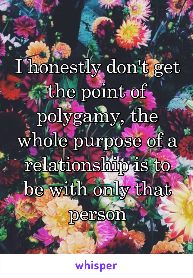 I honestly don't get the point of polygamy, the whole purpose of a relationship is to be with only that person