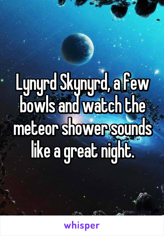 Lynyrd Skynyrd, a few bowls and watch the meteor shower sounds like a great night.