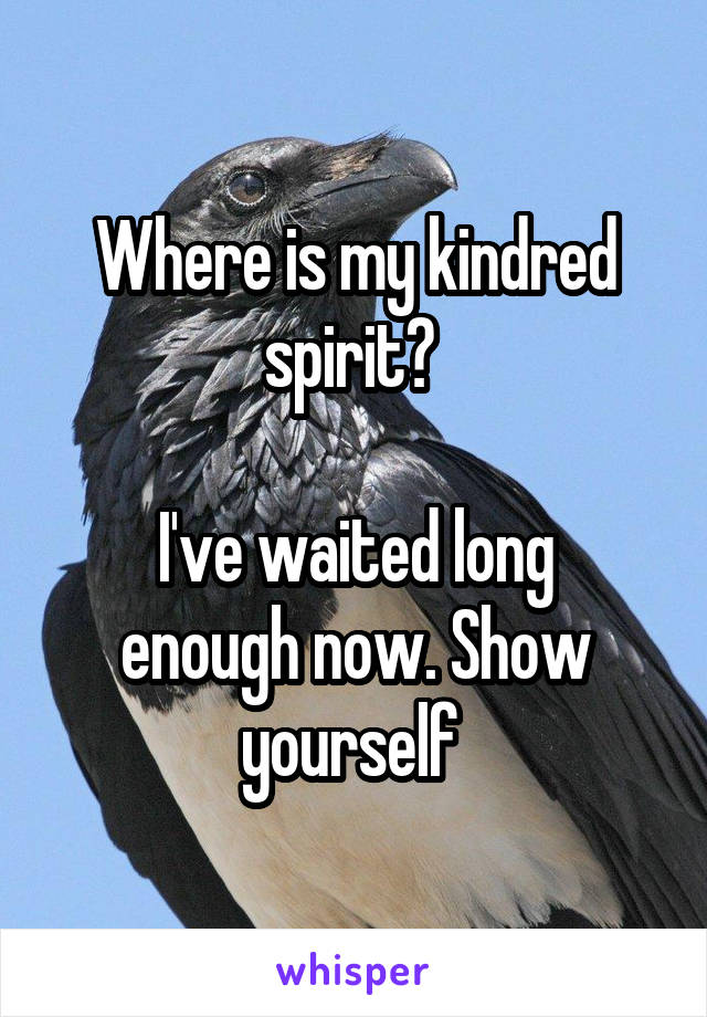 Where is my kindred spirit?   I've waited long enough now. Show yourself