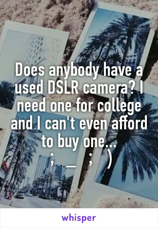 Does anybody have a used DSLR camera? I need one for college and I can't even afford to buy one...  ;_;)