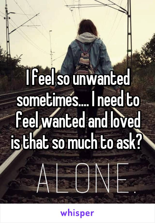 I feel so unwanted sometimes.... I need to feel wanted and loved is that so much to ask?