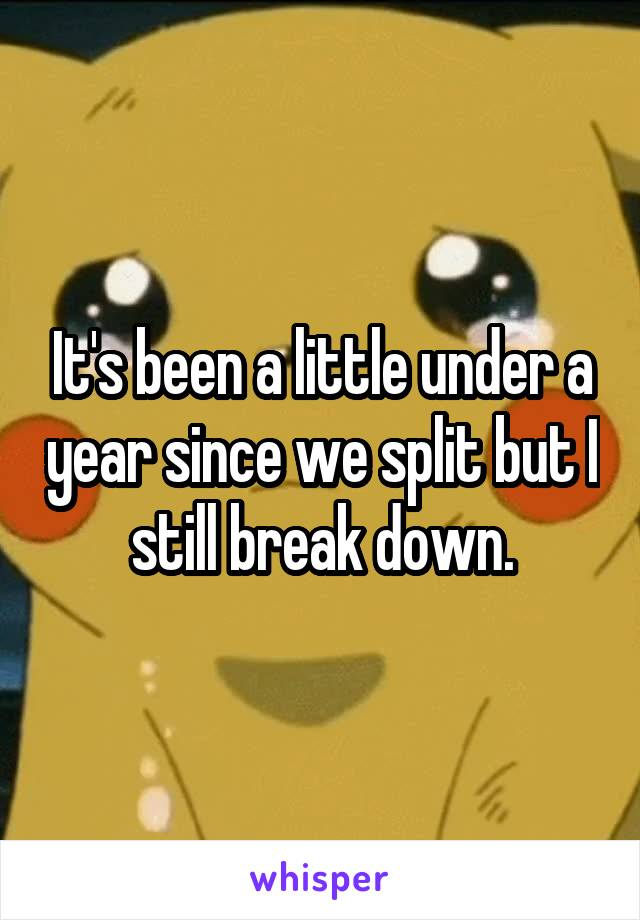 It's been a little under a year since we split but I still break down.
