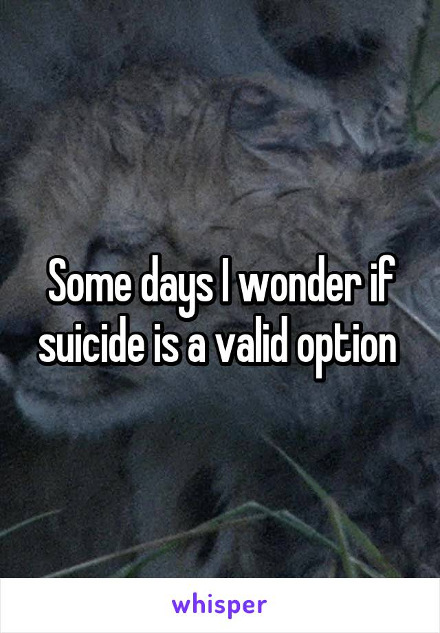 Some days I wonder if suicide is a valid option