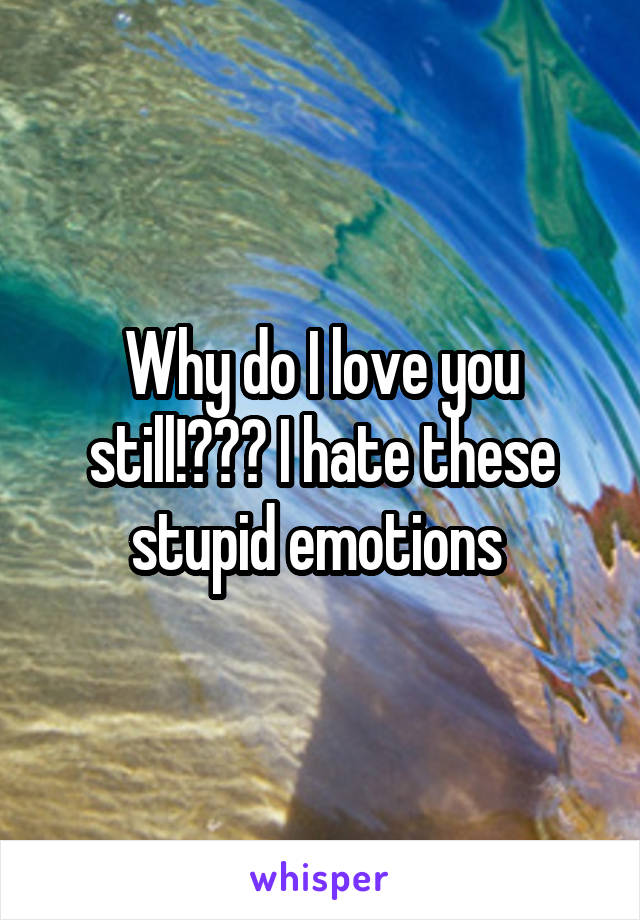 Why do I love you still!??? I hate these stupid emotions