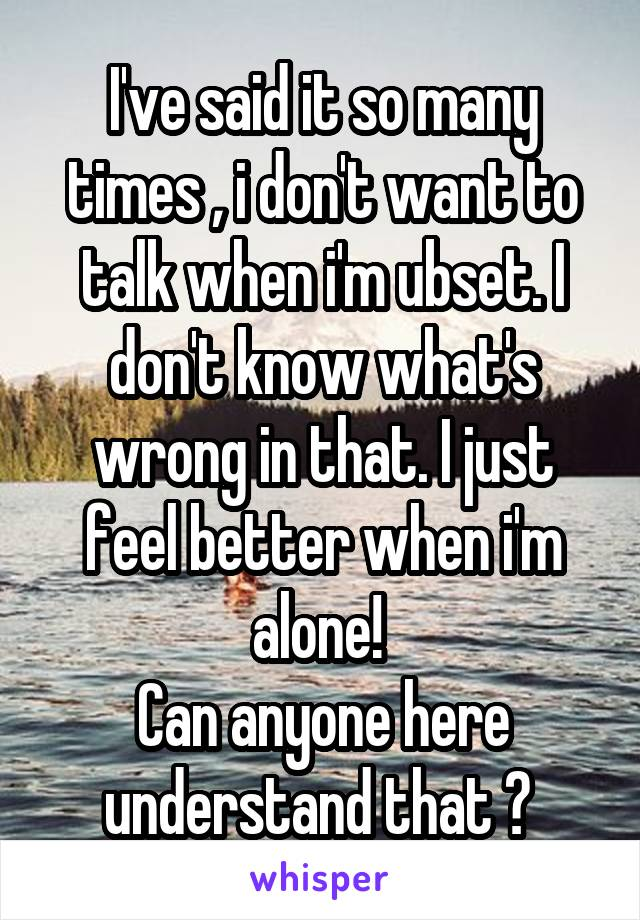 I've said it so many times , i don't want to talk when i'm ubset. I don't know what's wrong in that. I just feel better when i'm alone!  Can anyone here understand that ?