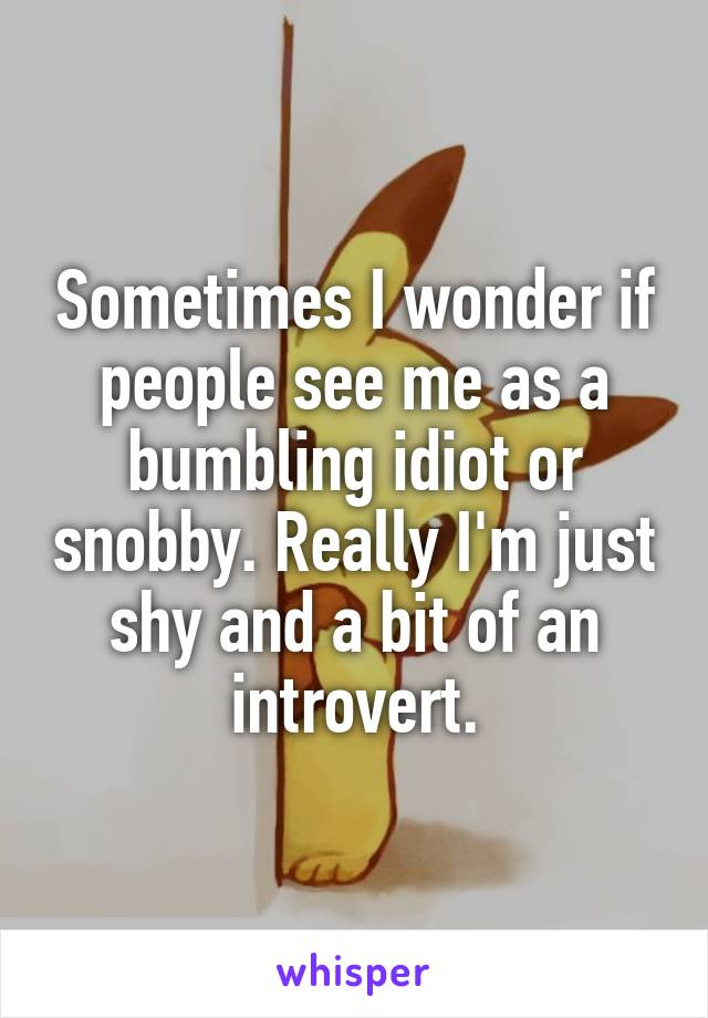 Sometimes I wonder if people see me as a bumbling idiot or snobby. Really I'm just shy and a bit of an introvert.