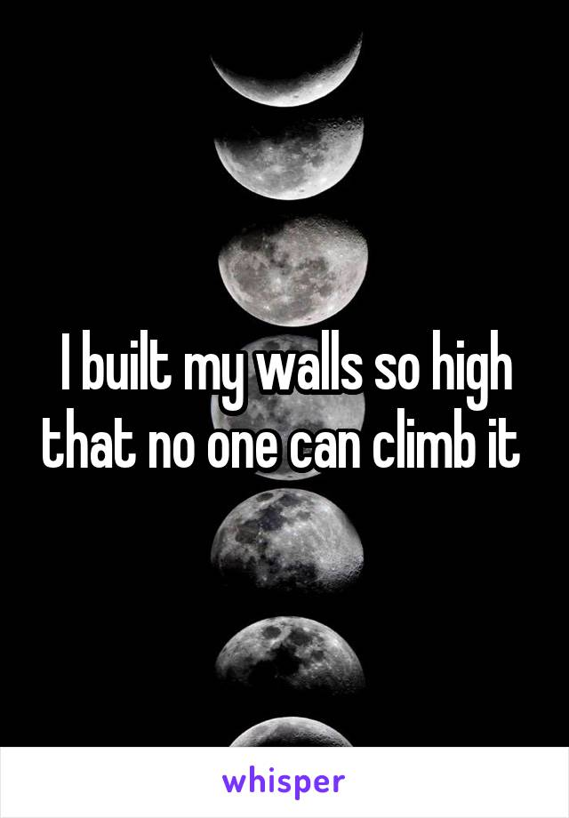 I built my walls so high that no one can climb it