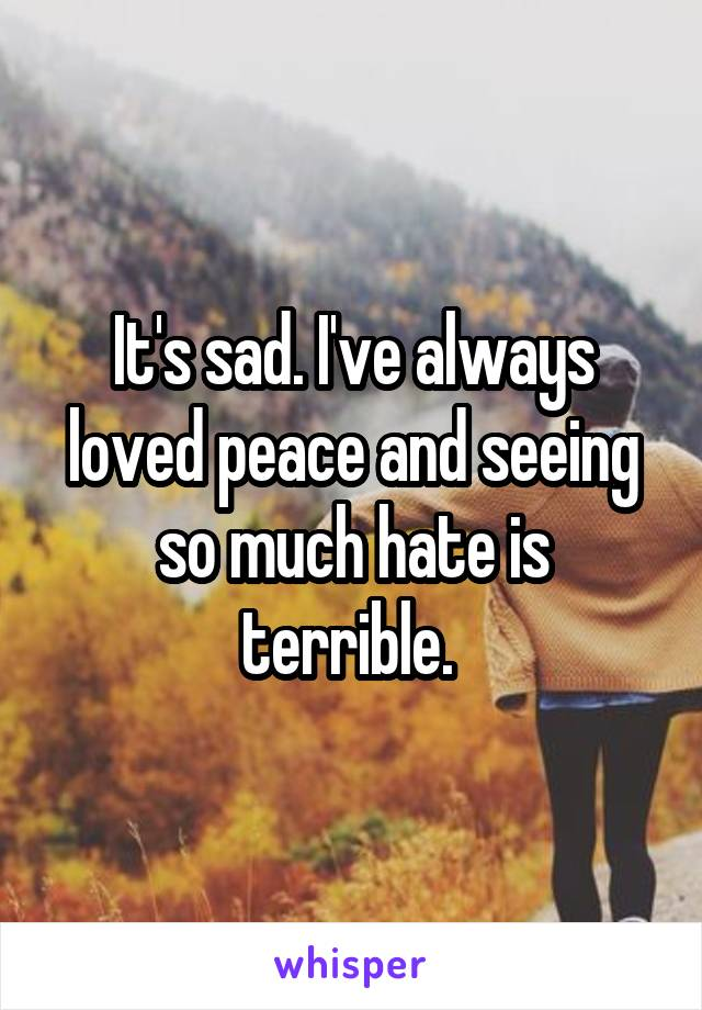 It's sad. I've always loved peace and seeing so much hate is terrible.