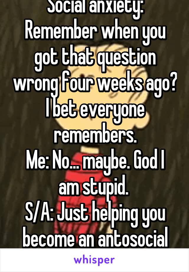 Social anxiety: Remember when you got that question wrong four weeks ago? I bet everyone remembers. Me: No... maybe. God I am stupid.  S/A: Just helping you become an antosocial hermit. :D