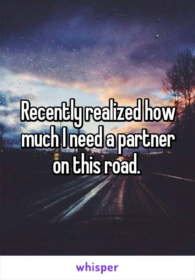 Recently realized how much I need a partner on this road.