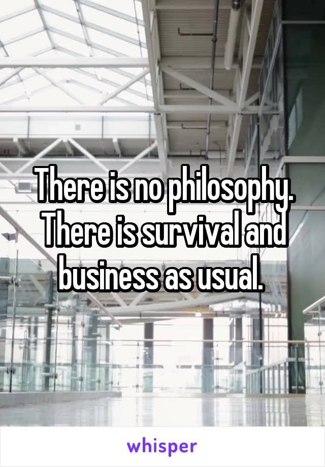 There is no philosophy. There is survival and business as usual.