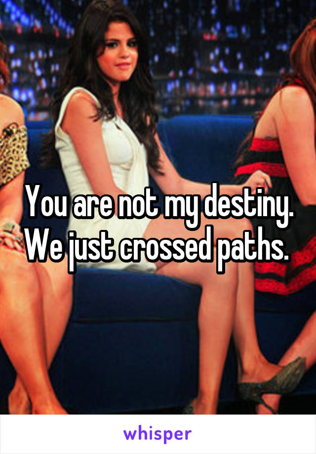 You are not my destiny. We just crossed paths.