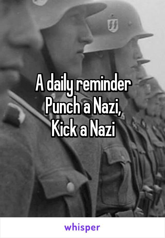 A daily reminder Punch a Nazi, Kick a Nazi