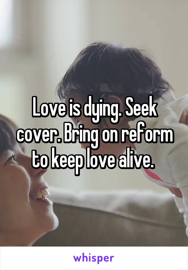 Love is dying. Seek cover. Bring on reform to keep love alive.
