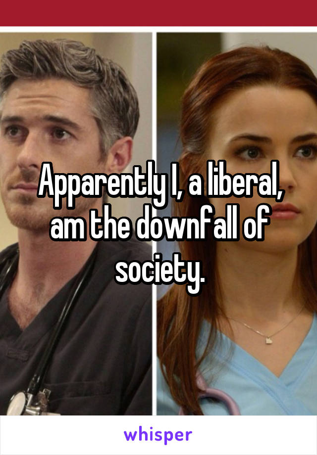 Apparently I, a liberal, am the downfall of society.