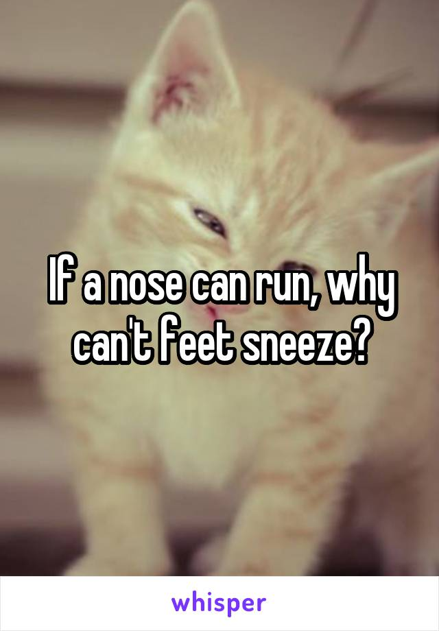 If a nose can run, why can't feet sneeze?
