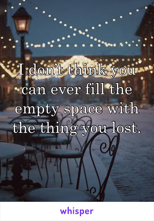 I don't think you can ever fill the empty space with the thing you lost.