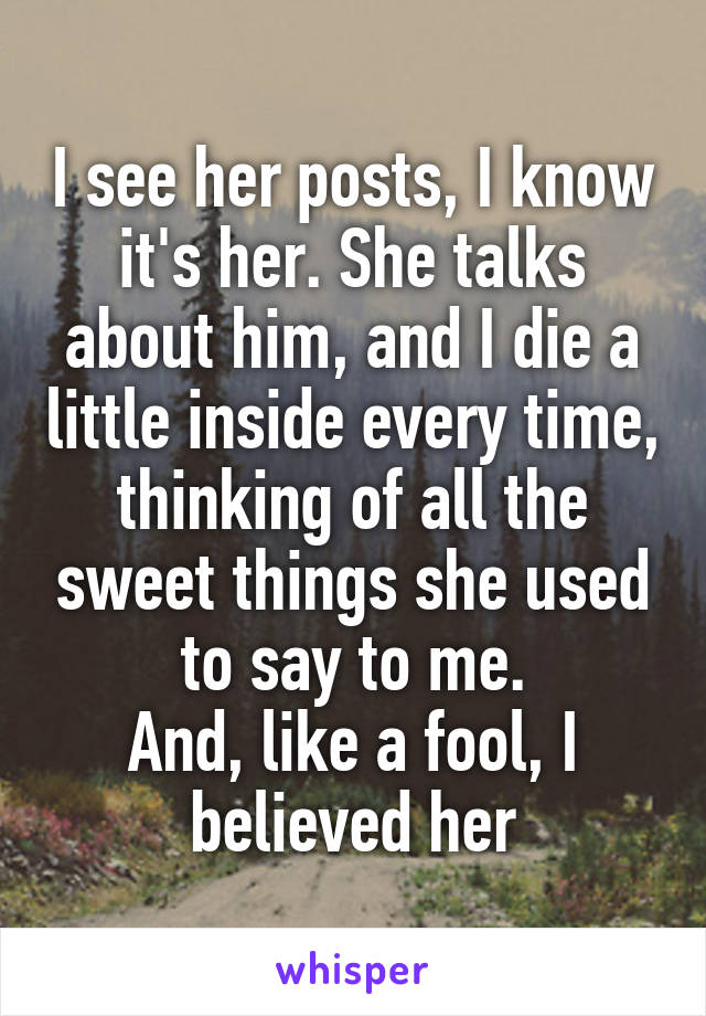 I see her posts, I know it's her. She talks about him, and I die a little inside every time, thinking of all the sweet things she used to say to me. And, like a fool, I believed her