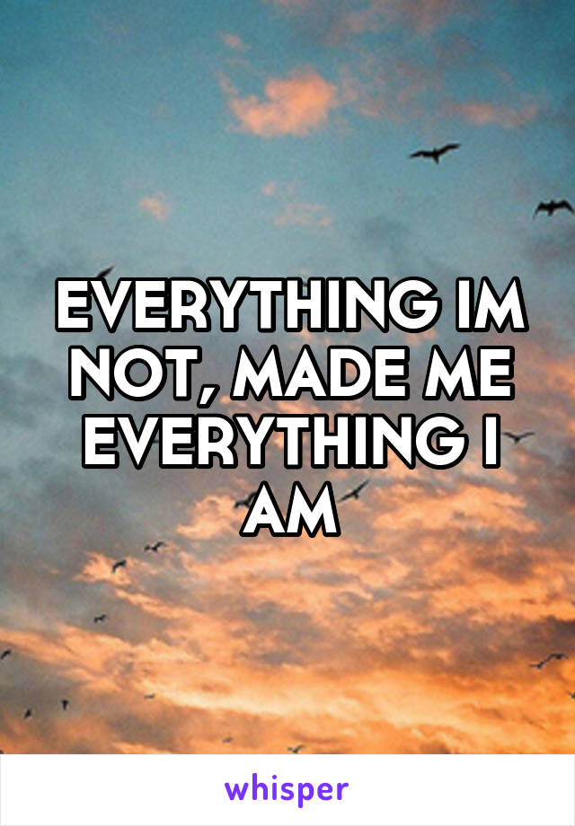 EVERYTHING IM NOT, MADE ME EVERYTHING I AM