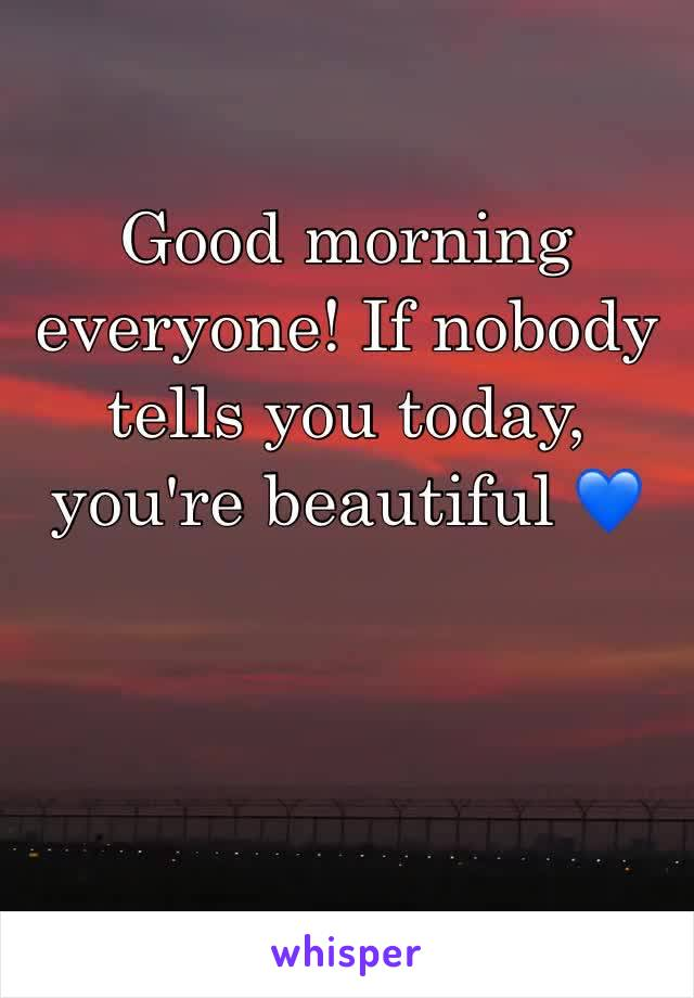 Good morning everyone! If nobody tells you today, you're beautiful 💙