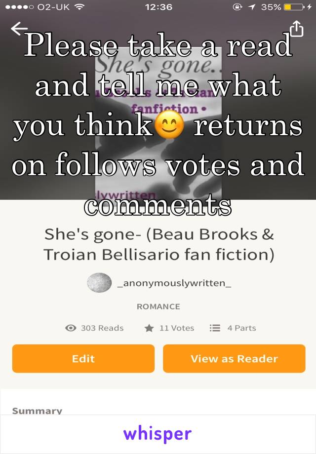 Please take a read and tell me what you think😊 returns on follows votes and comments
