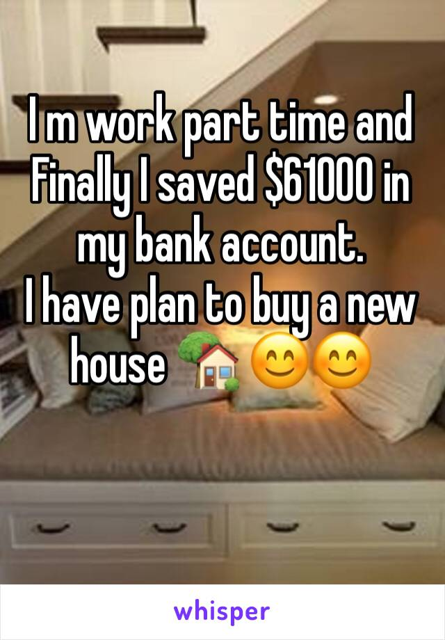 I m work part time and Finally I saved $61000 in my bank account. I have plan to buy a new house 🏡 😊😊
