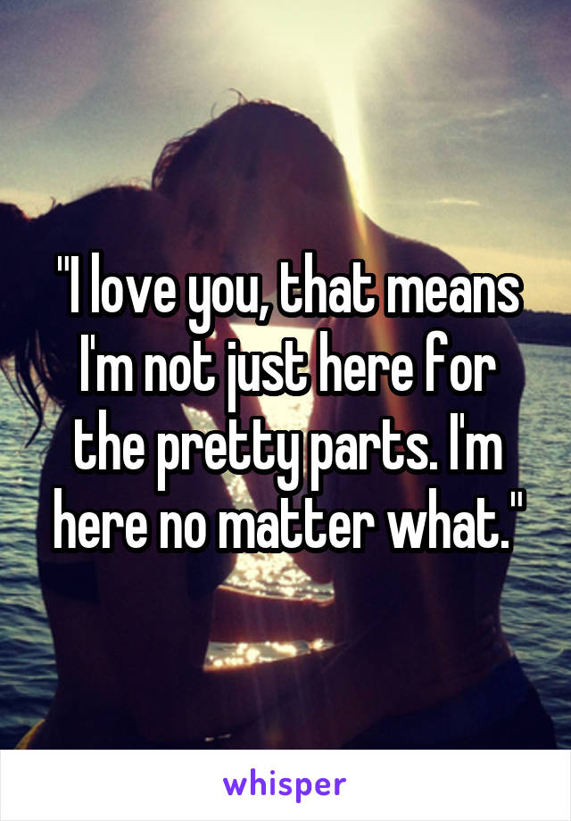"""""""I love you, that means I'm not just here for the pretty parts. I'm here no matter what."""""""