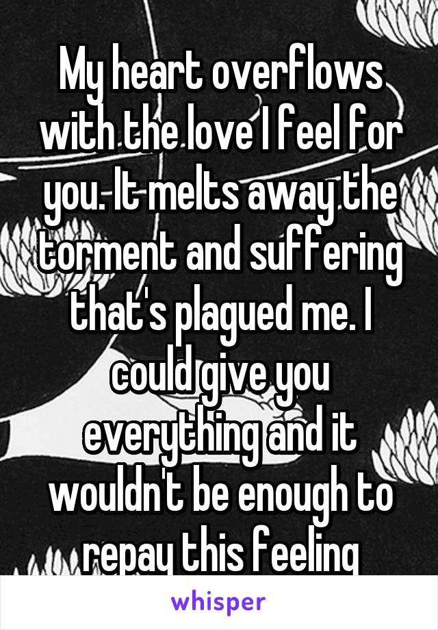 My heart overflows with the love I feel for you. It melts away the torment and suffering that's plagued me. I could give you everything and it wouldn't be enough to repay this feeling