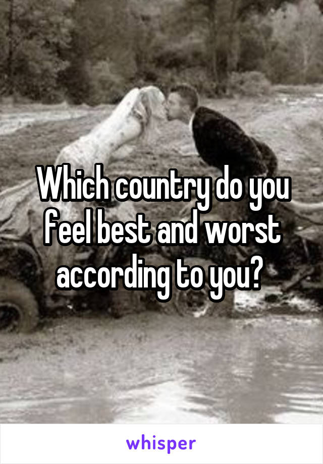 Which country do you feel best and worst according to you?
