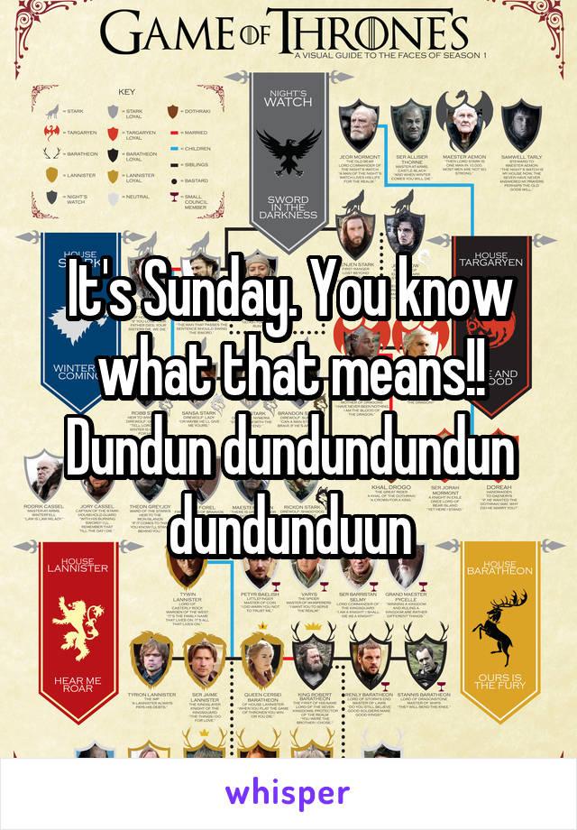 It's Sunday. You know what that means!! Dundun dundundundun dundunduun