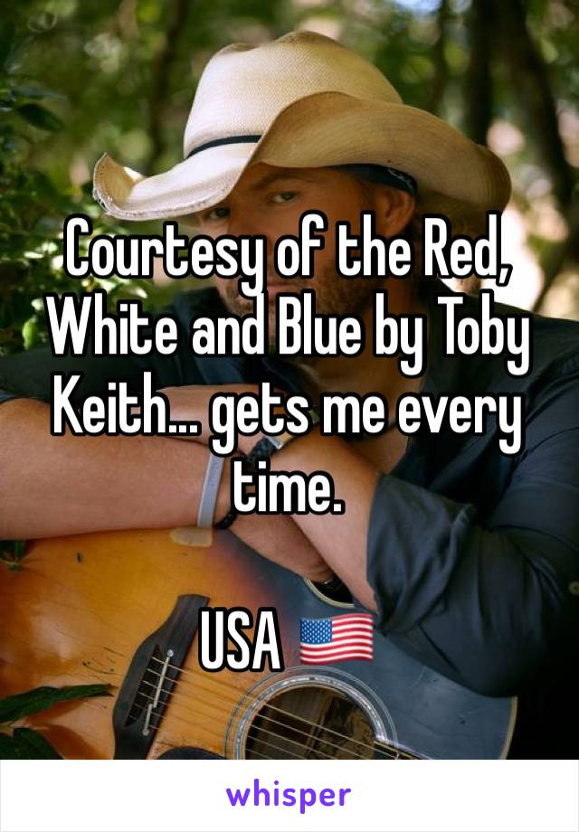 Courtesy of the Red, White and Blue by Toby Keith... gets me every time.   USA 🇺🇸