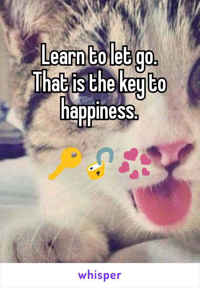 Learn to let go. That is the key to happiness.  🔑🔓💞