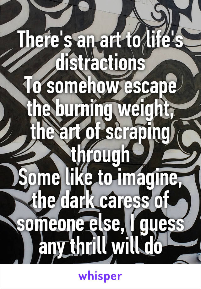 There's an art to life's distractions To somehow escape the burning weight, the art of scraping through Some like to imagine, the dark caress of someone else, I guess any thrill will do