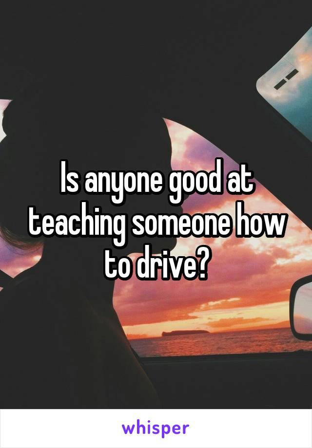 Is anyone good at teaching someone how to drive?