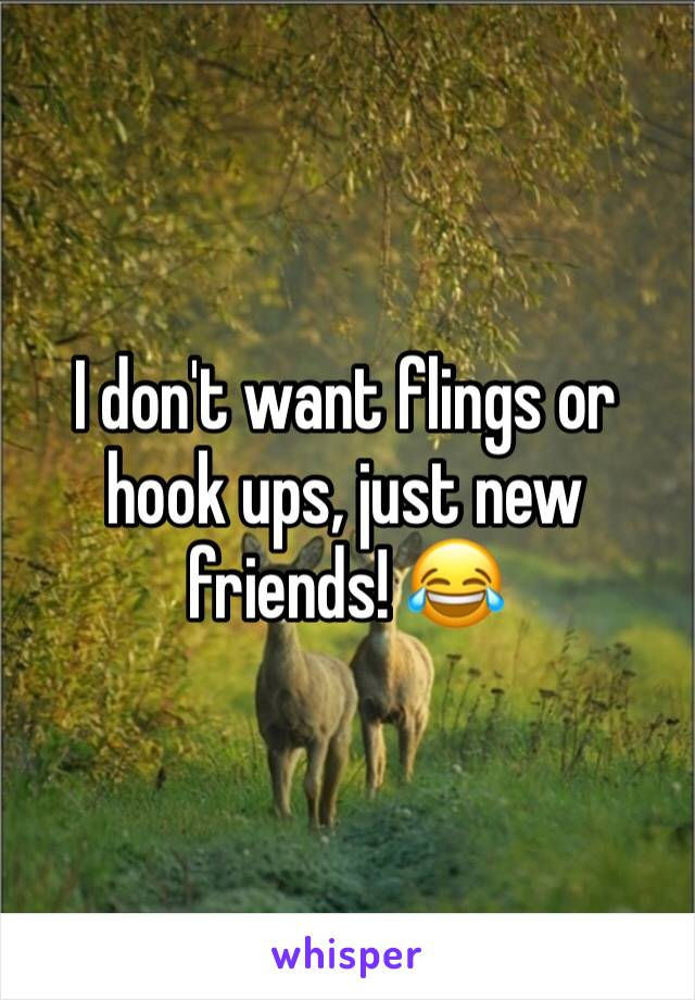 I don't want flings or hook ups, just new friends! 😂