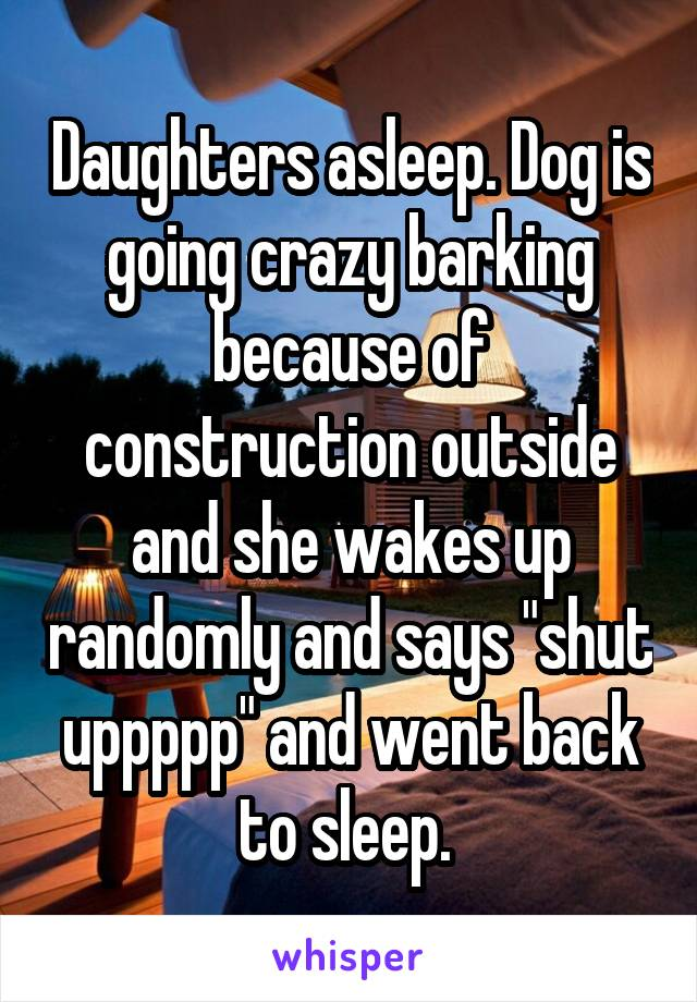 "Daughters asleep. Dog is going crazy barking because of construction outside and she wakes up randomly and says ""shut uppppp"" and went back to sleep."